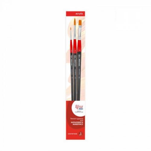 Set of brushes 4, Synthetic, 3pc., Flat №10, Round №0,6, Long Handle, ROSA Studio