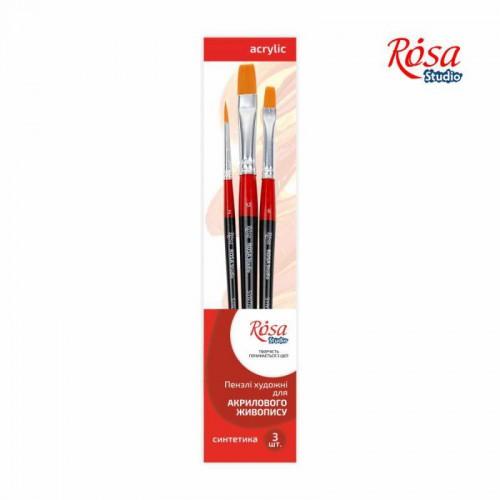 Set of brushes 7, Synthetic, 3pc., Flat №6, 12, Round №2, Short Handle, ROSA Studio