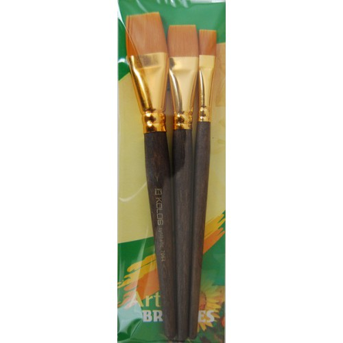 Set of brushes 7064, Synthetic Flat, 3pc. KOLOS by ROSA