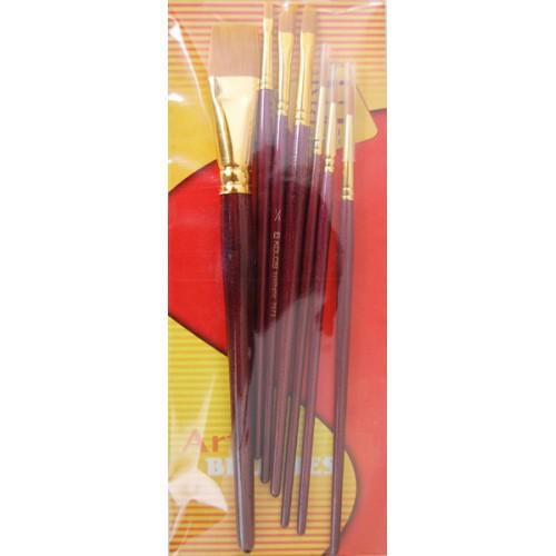 Set of brushes 7073, Synthetic Round/Flat/Angular, 3/3/1pc. KOLOS by ROSA