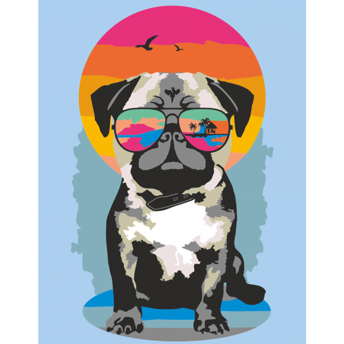 """""""Pug on vacation"""", kit, painting by numbers, 35х45cm, ROSA START"""