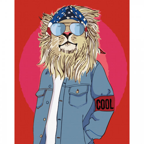 """""""Cool Lion"""", standard Kit, painting by numbers, 35х45cm, ROSA START"""