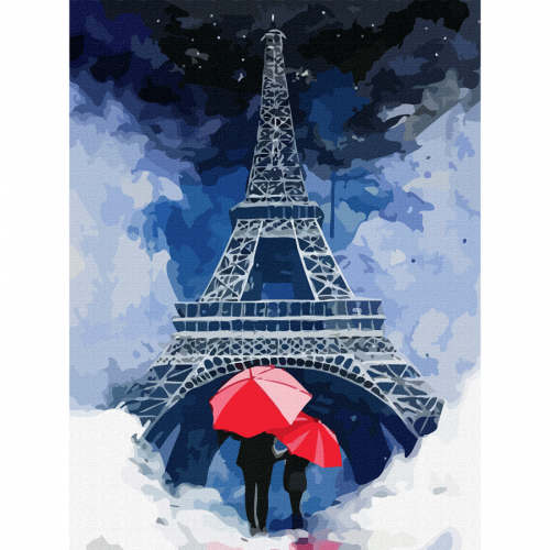 "Cities, ""Paris 4"", Canvas Panel with outline, 30х40cm, cotton, acrylic, ROSA START"