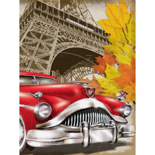 "Cities, ""Paris 5"", Canvas Panel with outline, 30х40cm, cotton, acrylic, ROSA START"
