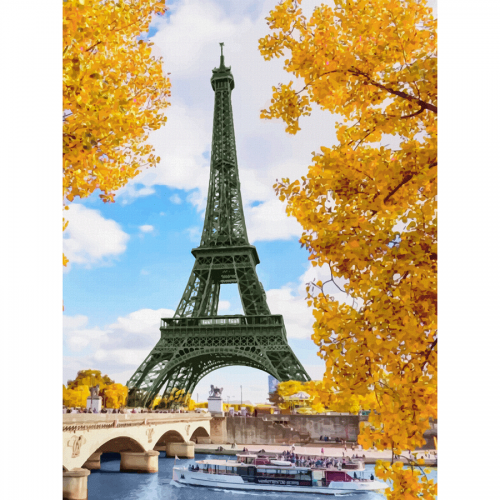 "Cities, ""Paris 6"", Canvas Panel with outline, 30х40cm, cotton, acrylic, ROSA START"
