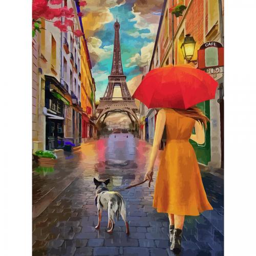 "Cities, ""Paris 7"", Canvas Panel with outline, 30х40cm, cotton, acrylic, ROSA START"