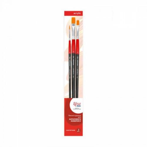 Set of brushes 2, Synthetic, 3pc., Flat №8, 12, Round №2, Long Handle, ROSA Studio