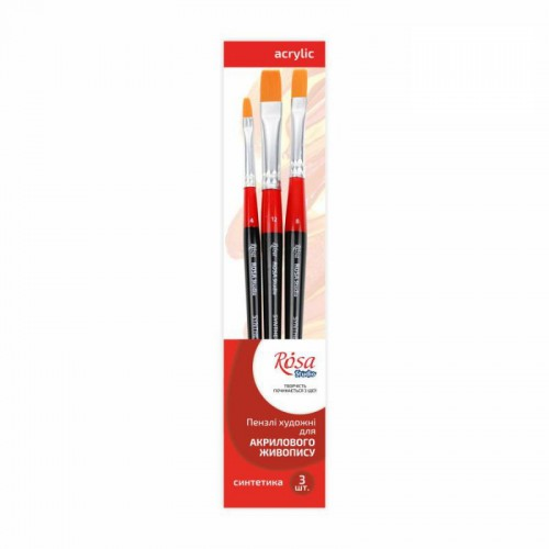 Set of brushes 3, Synthetic, 3pc., Flat №4, 8, 12, Short Handle, ROSA Studio