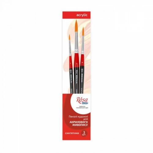 Set of brushes 5, Synthetic, 3pc., Round №1,4,7, Short Handle, ROSA Studio