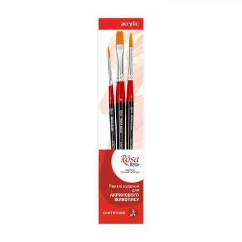 Set of brushes 6, Synthetic, 3pc., Flat №10, Round №2, 5, Short Handle, ROSA Studіo