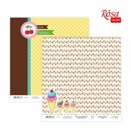 "Scrap paper ""Cake delicious"" 30,48x30,48см, 200г / м2 ТМ ROSA TALENT"