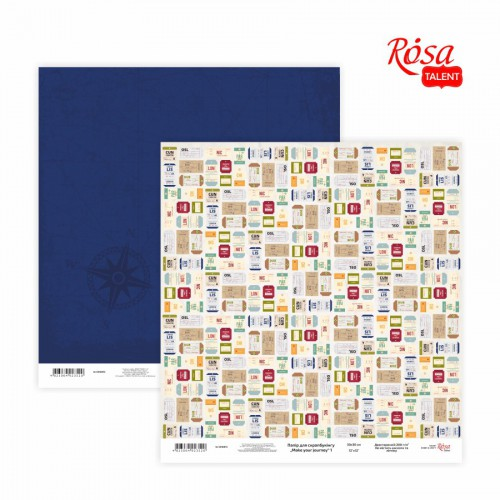 "Scrap paper ""Make your journey"" 30,48x30,48см, 200г /м2 ТМ ROSA TALENT"
