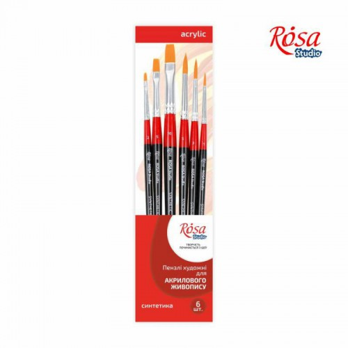 Set of brushes 12, Synthetic, 6pc., Flat №2,5,10, Round №1,3,5, ROSA Studio