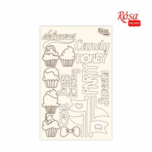 "Chipbord for scrapbooking ""Cake delicious"", white board, 12,8х20cm, ROSA TALENT"