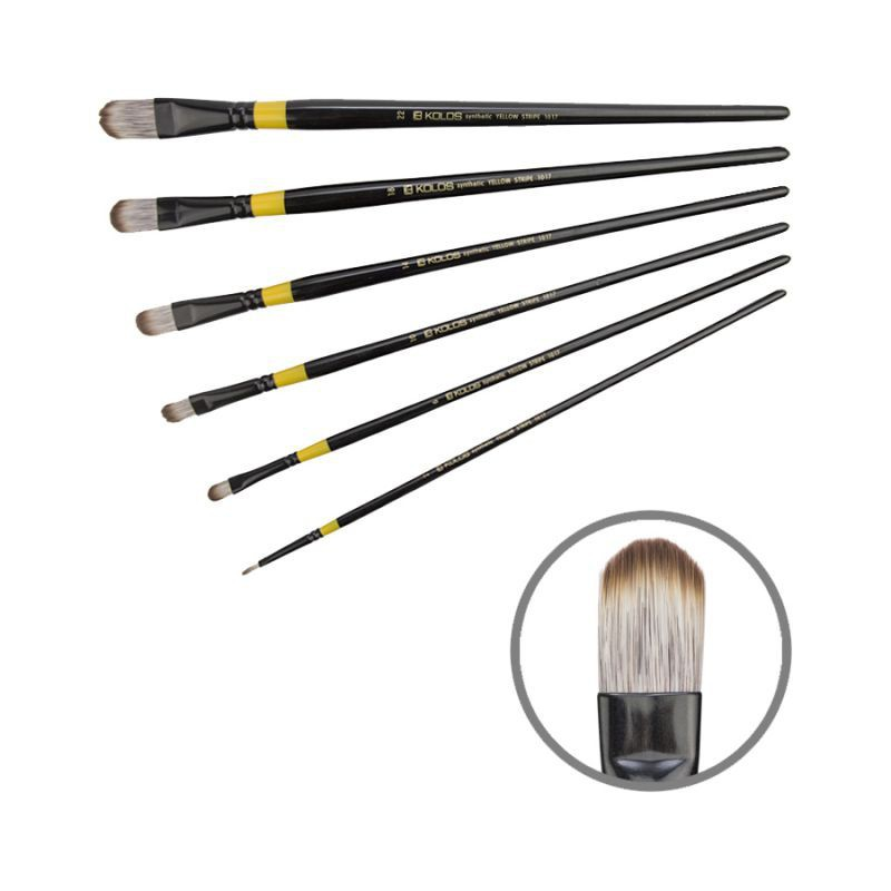Synthetic Oval, Yellow stripe 1017,  Long Handle, KOLOS by ROSA
