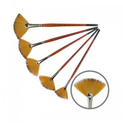 Synthetics Fan Brush, Carrot 1097FN, Short Handle, KOLOS by ROSA