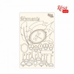 """Chipbord for scrapbooking """"Floral Poem"""", white board, 12,8х20cm, ROSA TALENT"""
