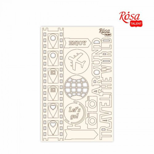 """Chipbord for scrapbooking """"Make your journey"""", white board, 12,8х20cm, ROSA TALENT"""