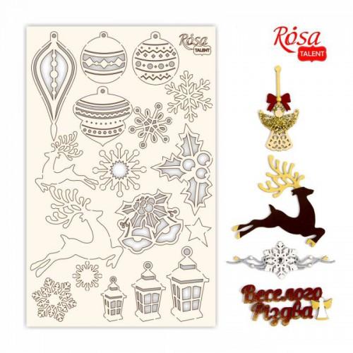 "Chipbord for scrapbooking ""New Year's magic"", white board, 12,8х20cm, ROSA TALENT"