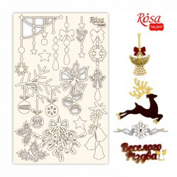 "Chipbord for scrapbooking ""New Year's magic"", white board, 12,8х20cm, ROSA TALENT"