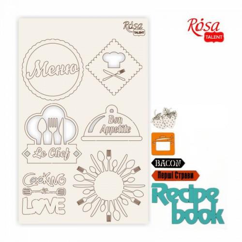"""Chipbord for scrapbooking """"Recipe book"""", white board, 12,8х20cm, ROSA TALENT"""
