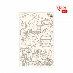 "Chipbord for scrapbooking ""Kids motives"", white board, 12,8х20cm, ROSA TALENT"