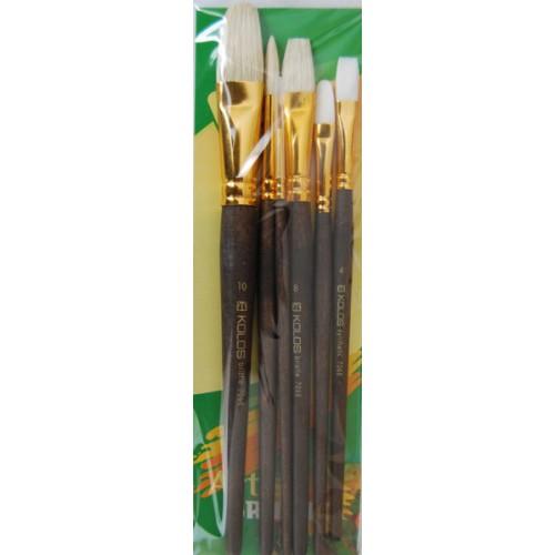 Set of brushes 7068, Synthetic Round/Flat/Angular/Oval, 2/2/2pc. KOLOS by ROSA