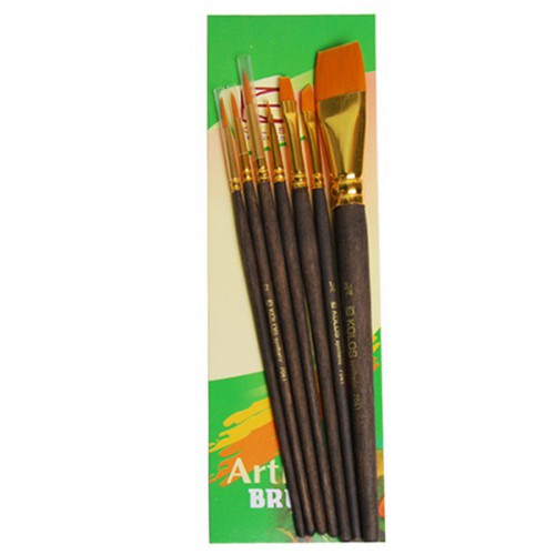 Set of brushes 7061, Synthetic Round/Flat/Angular, 3/3/1pc. KOLOS by ROSA