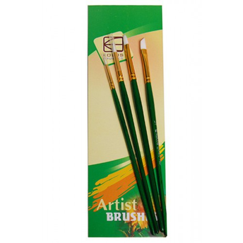 Set of brushes 7067, Synthetic Round/Flat/Angular, 2/1/1/1pc. KOLOS by ROSA