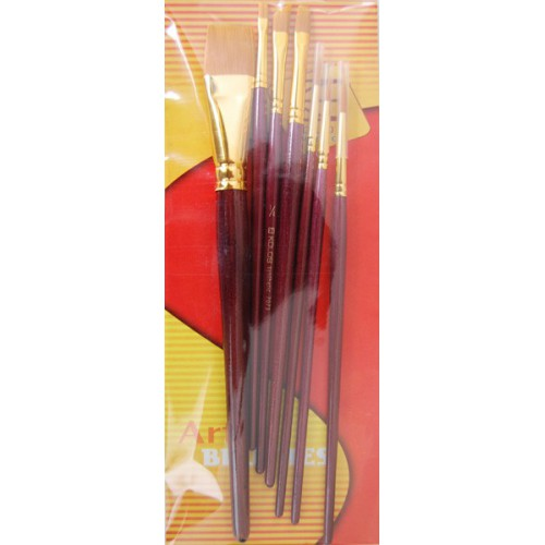 Set of brushes 7073, Synthetic Round/Flat/Angular, 3/3/1pc. KOLOS by ROSA