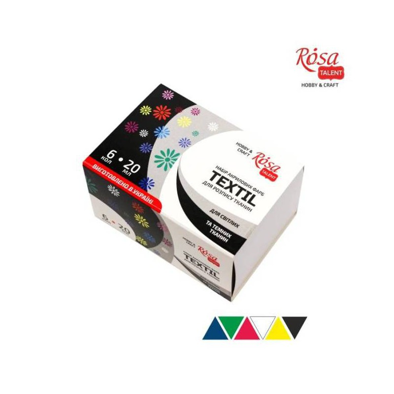 Set of acrylic paints for textile 20ml ROSA Studio
