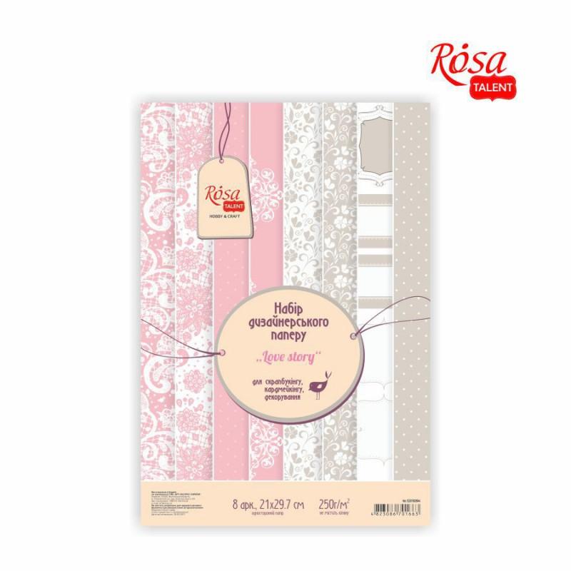 """Набор дизайнерской бумаги одностор. """"Love story"""" 21х29,7cm 200g/m2 ROSA TALENT"""