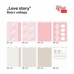 """Набор дизайнерской бумаги одностор. """"Love story"""" 21х29,7см 250г/м2 ROSA TALENT"""