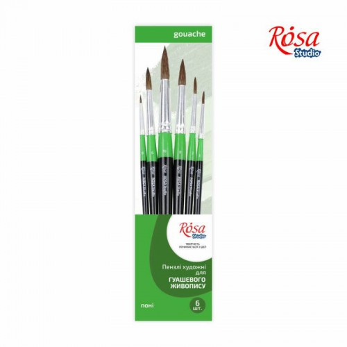 Set of brushes 4, Synthetic, 3pc., Flat №10, Round №0,6, Long Handle, ROSA Studio