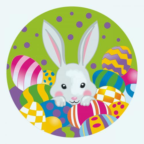 """Весенний кролик"", холст на картоне с контуром, 20х20, хлопок, акрил, ROSA START"