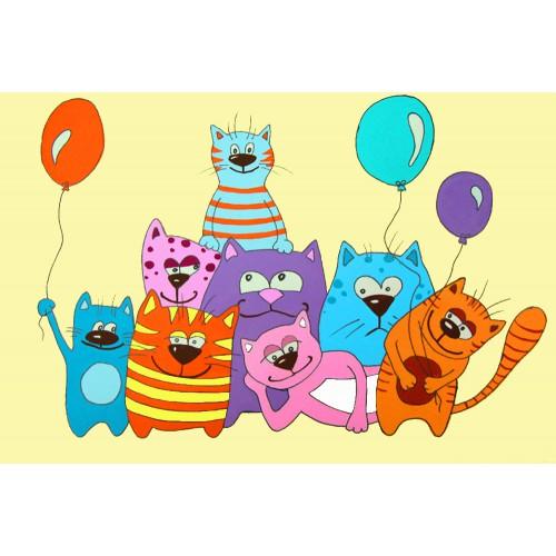 """Котики с шариками"", холст на картоне с контуром, Мультфильм №33, 20х30, хлопок, акрил, ROSA START"