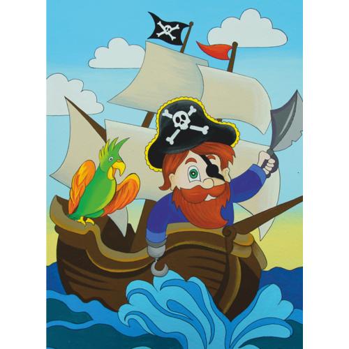 """""""Пират на корабле"""", холст на картоне с контуром, Мультфильм №31, 20х30, хлопок, акрил, ROSA START"""