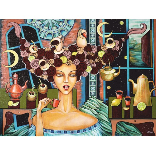 """Lemon coffee with intrigue"", A. Navrotska, Canvas Panel with outline, 30х40, cotton, acrylic, ROSA START"