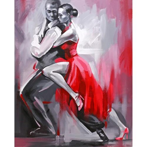 """Танго"", холст на картоне с контуром,  30х40, хлопок, акрил, ROSA START"