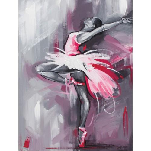 """Балерина"", холст на картоне с контуром,  30х40, хлопок, акрил, ROSA START"