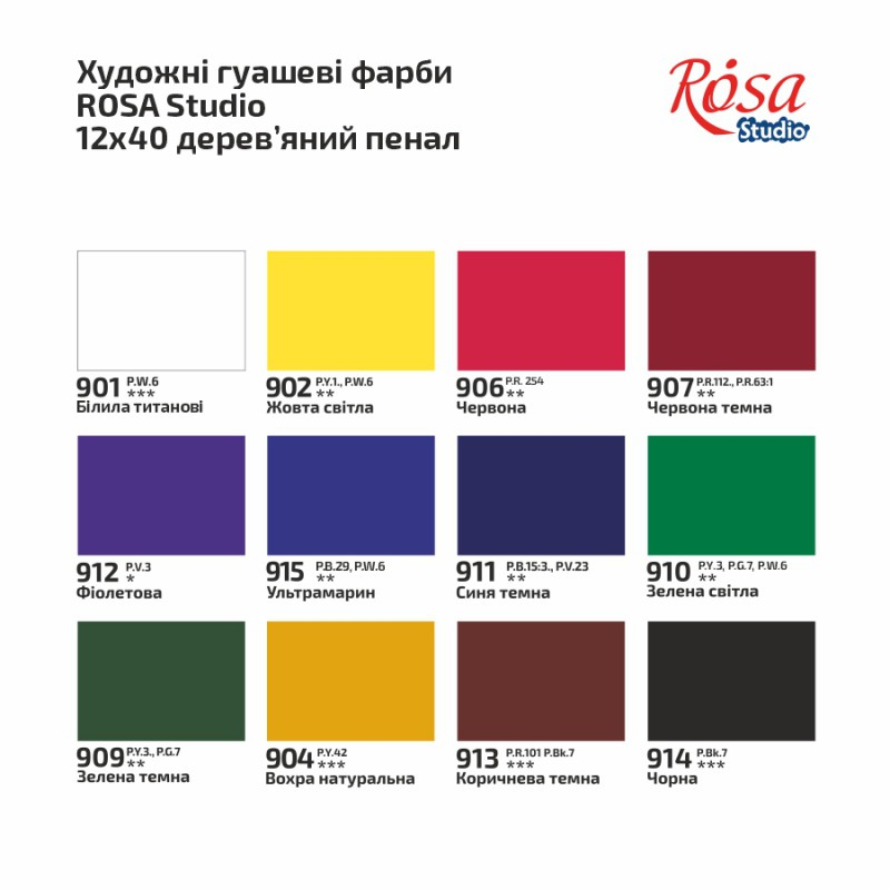 Набір гуашевих фарб ROSA START дерево 12х20мл