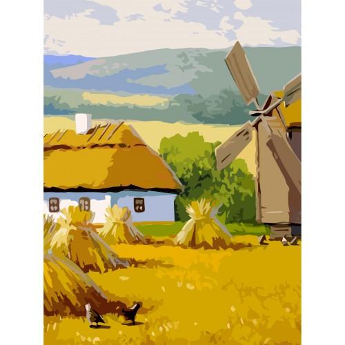 Пейзаж №32, полотнонакартонізконтуром,30х40,бавовна,акрил,ROSASTART