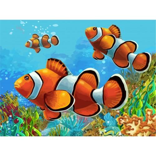 """""""Коралові рибки"""",полотнонакартонізконтуром,30х40,бавовна,акрил,ROSASTART"""