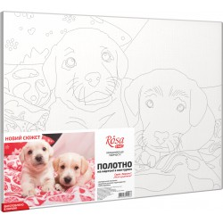 """""""Cute Puppies"""", Canvas Panel with outline,  30х40, cotton, acrylic, ROSA START"""