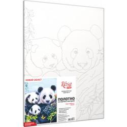"""Pandas"", Canvas Panel with outline,  30х40, cotton, acrylic, ROSA START"