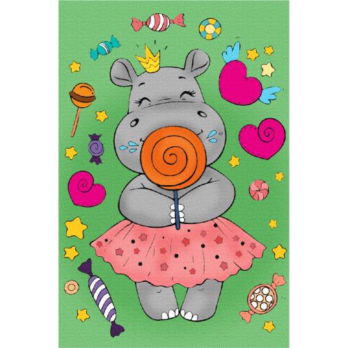 """Hippopotamus"", Canvas Panel with outline, 20х30cm, cotton, acrylic, ROSA START"