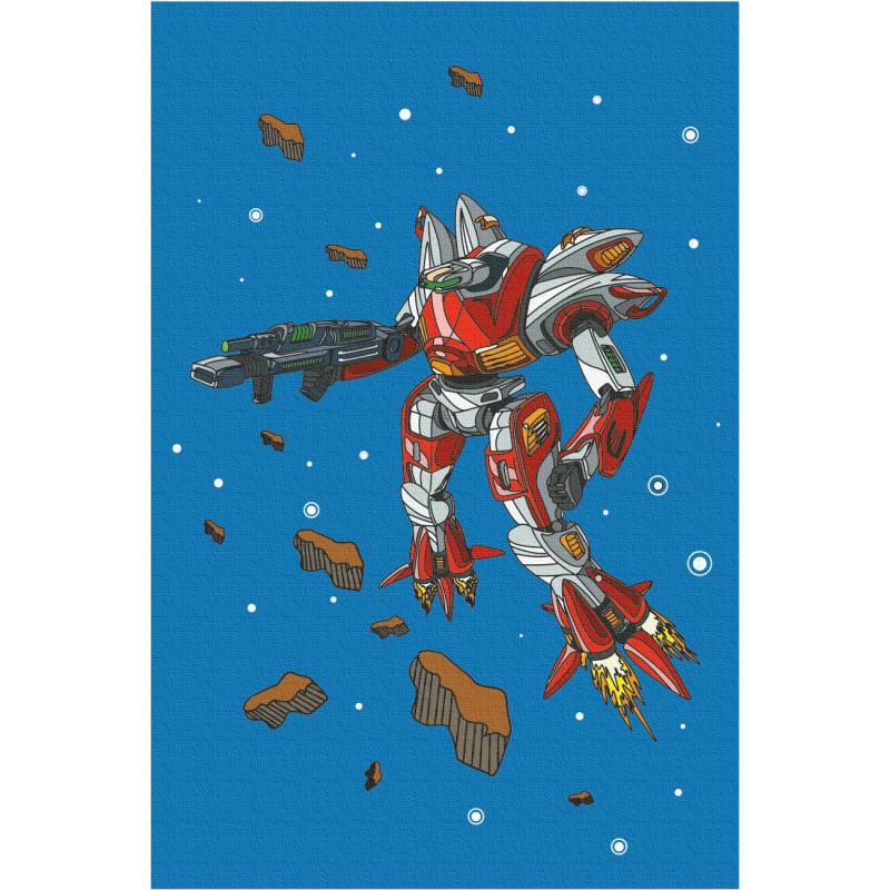 """""""Робот"""", холст на картоне с контуром, 20х30, хлопок, акрил, ROSA START"""