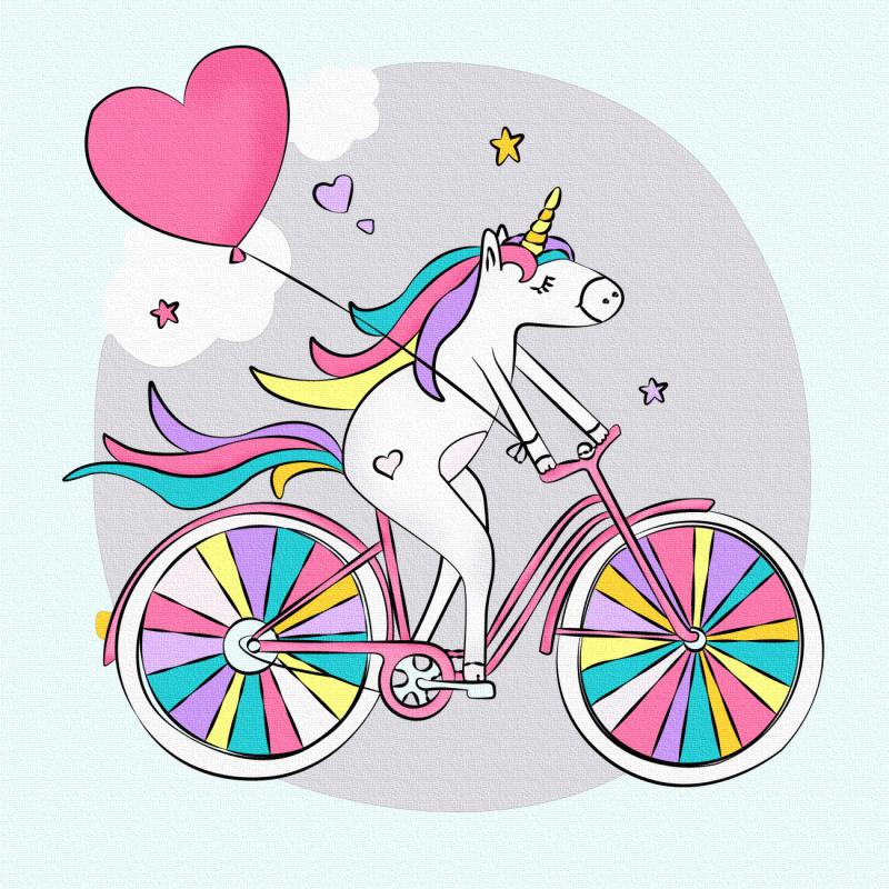 """""""Єдиноріжка на велосипеді"""", полотно на картоні з контуром, 20х20, бавовна, акрил, ROSA START"""