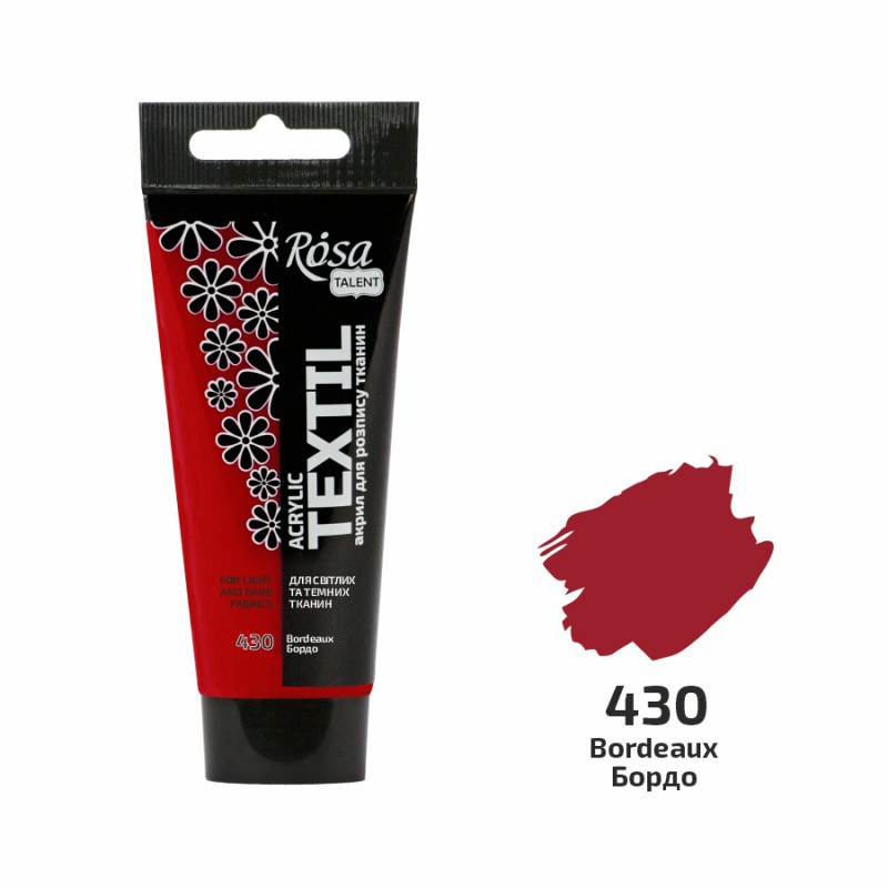 Acrylic paint for textil in a tube 60ml ROSA TALENT