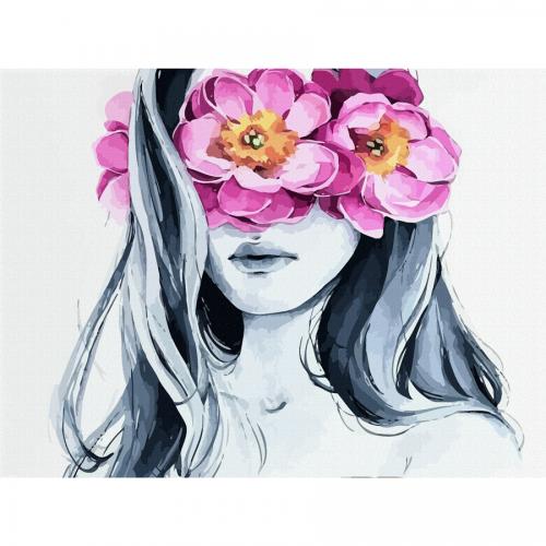 """""""Девушка и цветы"""", холст на картоне с контуром, 30х40, хлопок, акрил, ROSA START"""